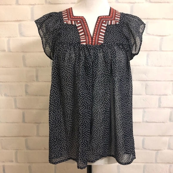 Q&A Tops - NWOT Stitch Fix Q&A Moana Embroidery Neckline Top